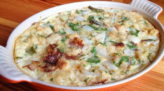 Spring-Onion Bread Pudding