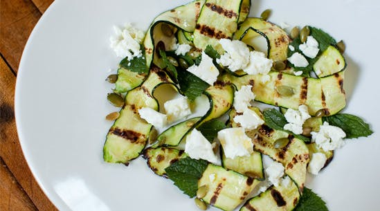 Grilled Zucchini with Feta, Pumpkin Seeds, Mint and Lime Juice