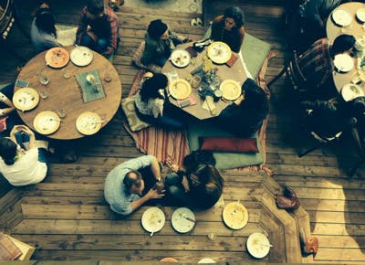 A dinner party that starts with vinyasa
