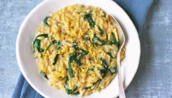 purewow lemon spinach orzotto