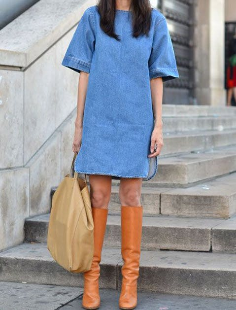 denim dress boots