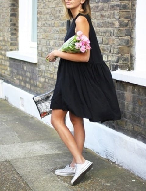 black summer clothes swing dress