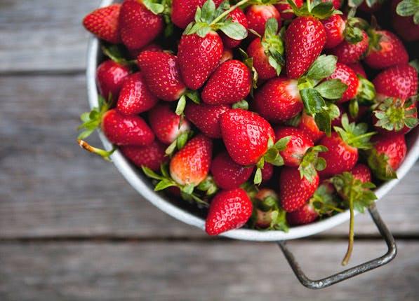 white teeth strawberries