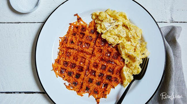 Sweet Potato Hash Browns Made with a Waffle-Iron