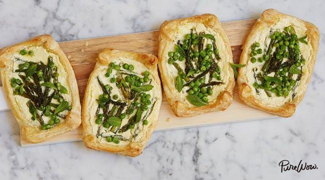 Asparagus, Pea and Ricotta Tarts