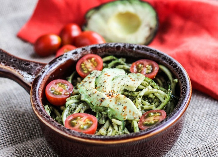 Pesto Zucchini Pasta With Tomatoes and Avocado & 24 Cold Dinner Recipes for Hot Nights - PureWow