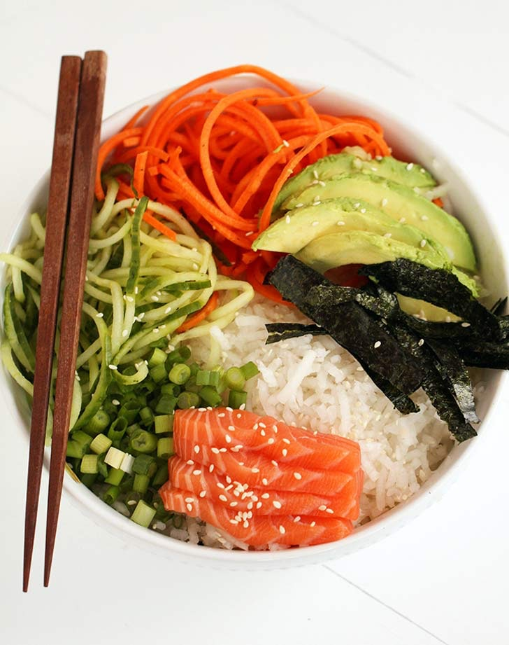 cold sushibowl & 24 Cold Dinner Recipes for Hot Nights - PureWow