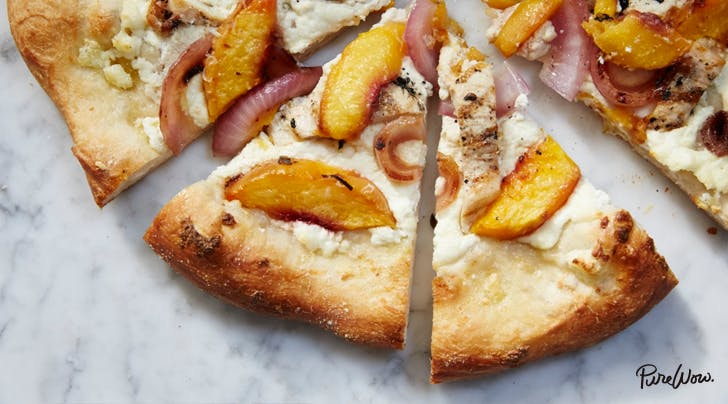 Grilled Peach, Chicken and Ricotta Pizza