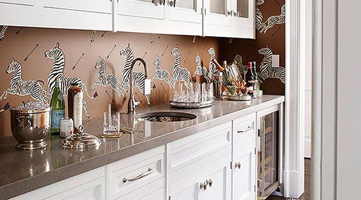 Kitchen Backsplash Wallpaper how to use wallpaper as a kitchen backsplash - purewow