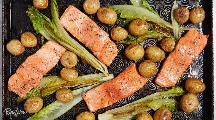 One-Pan Roasted Salmon with Potatoes and Romaine