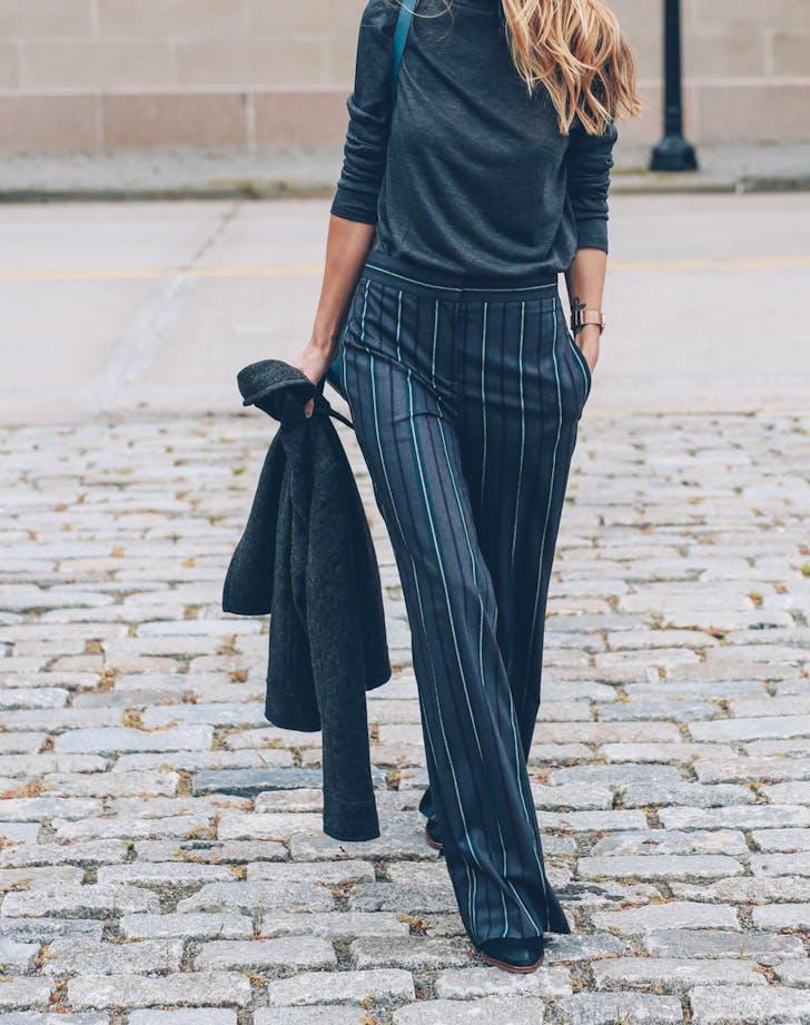 Ann Taylor Wool Wide Leg Pants Mock Neck Top Brahmin Southcoast Bucket Bag Jess Kirby