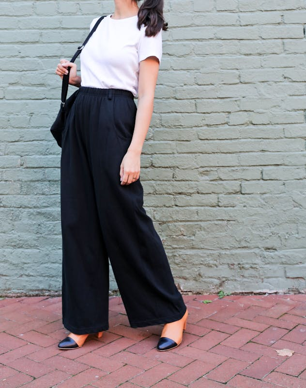 Wide Leg Black Trousers
