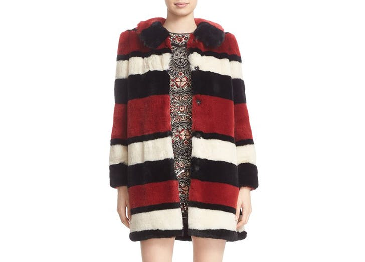 alice and olivia striped fur coat NY 728