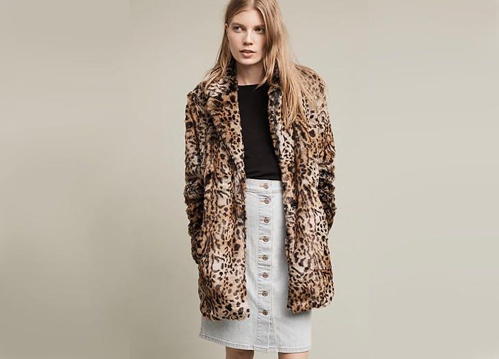 anthropologie sanctuary leopard coat NY 728