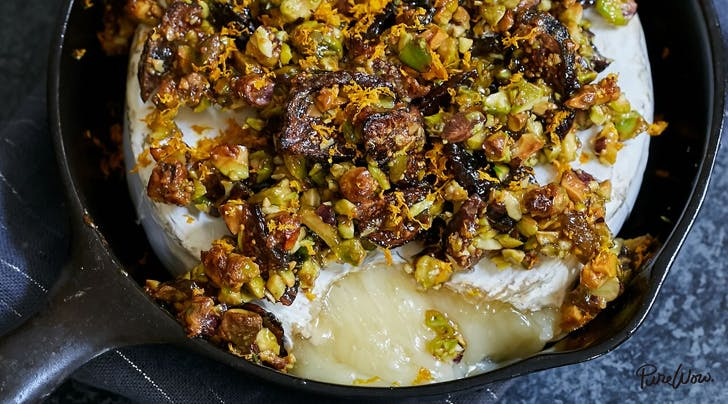 Baked Brie Recipe with Figs, Pistachios and Orange