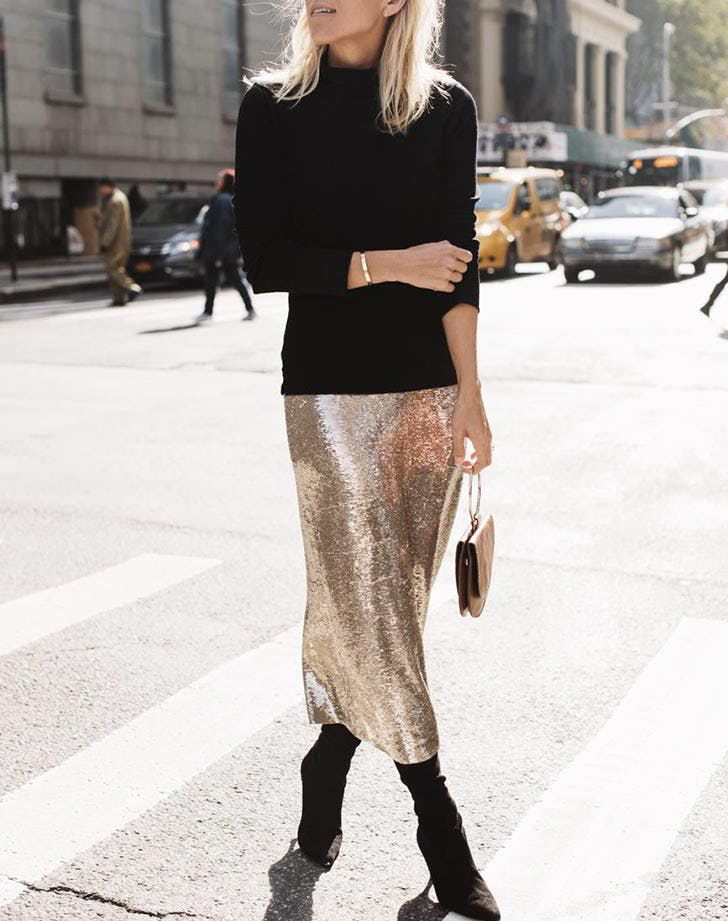 gold sequin skirt black turtleneck NY 728