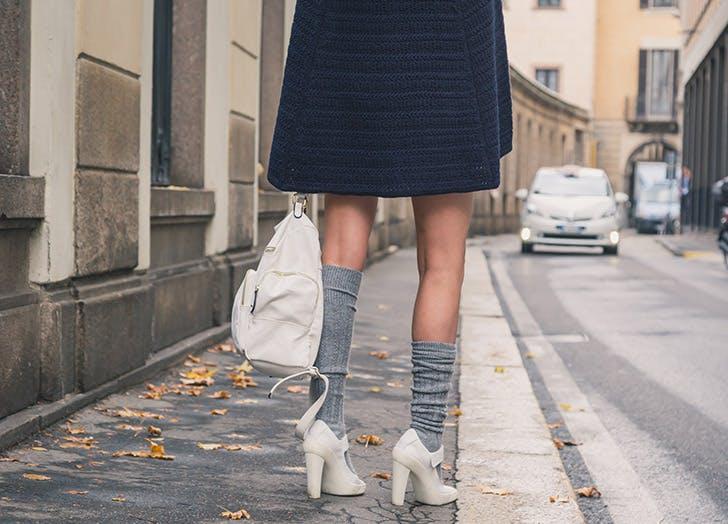 high heels socks street horizontal