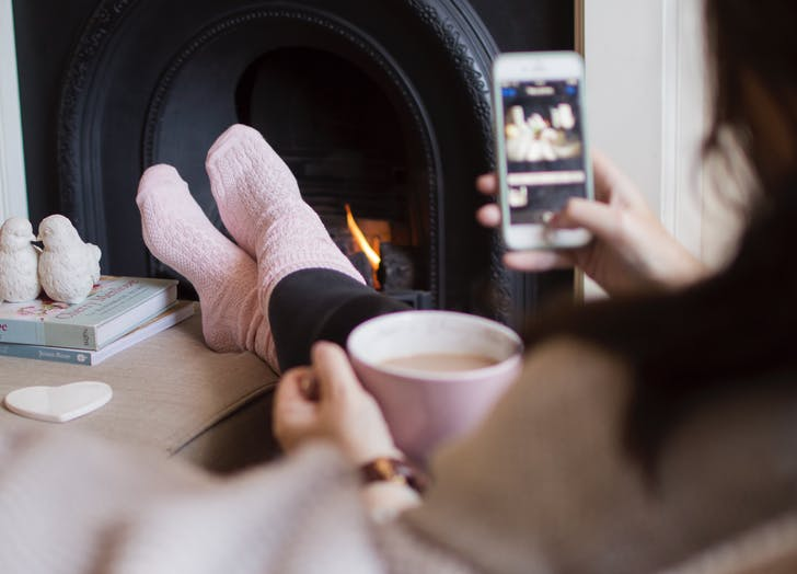 instagram tricks feet phone fireplace