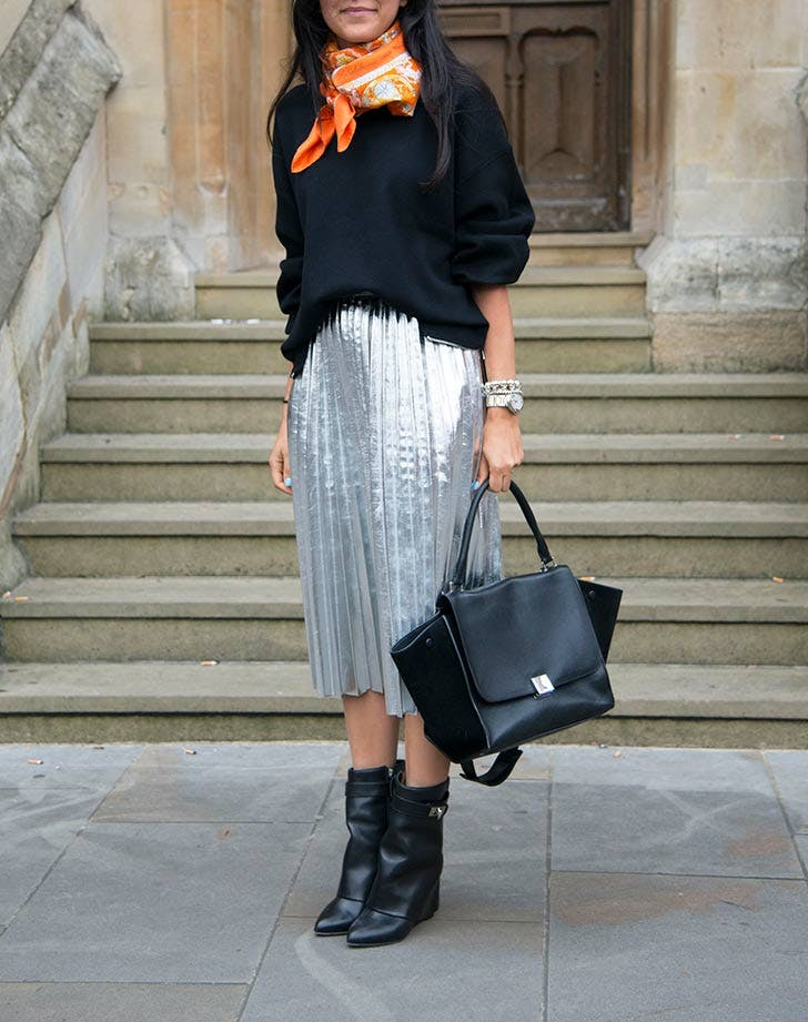 metallic skirt thanksgiving NY 728