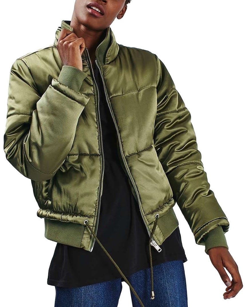 topshop stain bomber puffer army green dallas winter jackets