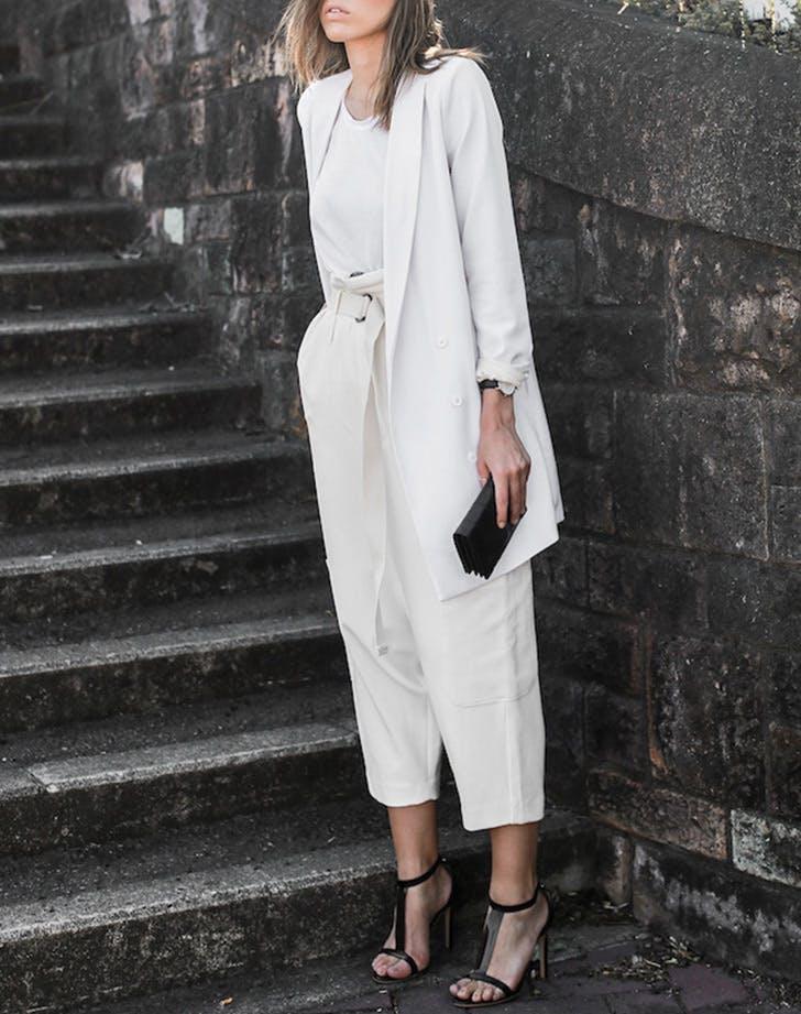 tshirt culottes blazer white