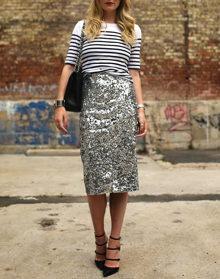 tshirt sequin skirt stripes