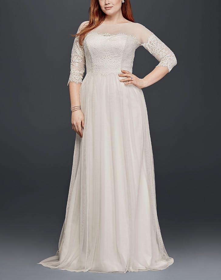 wedding dress sheer panels davids bridals