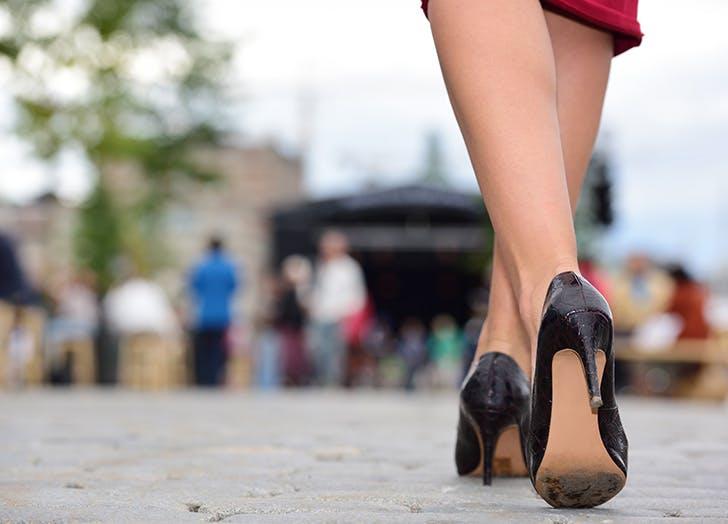 worn soles high heels horizontal