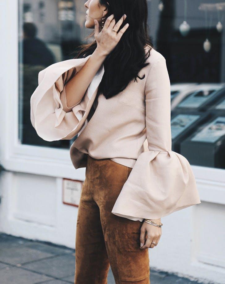 bell sleeves pink suede