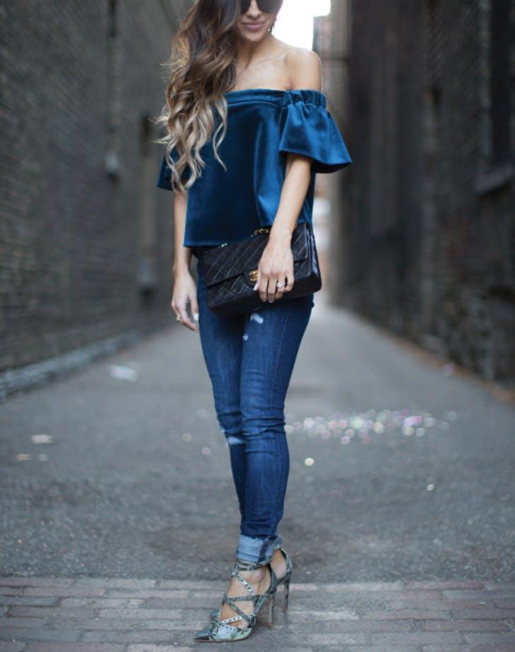bell sleeves velvet jeans