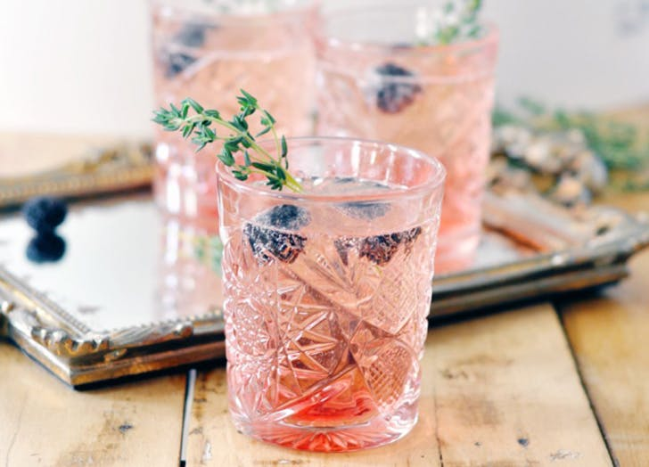 champagne cocktails blackberry thyme