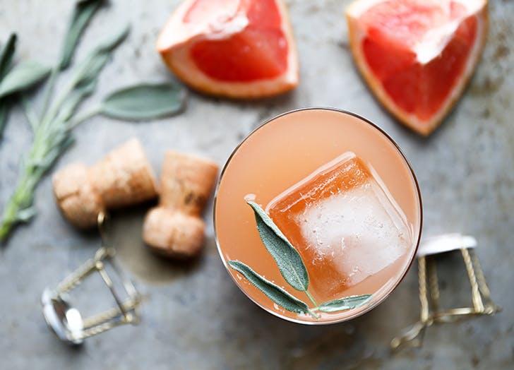 champagne cocktails grapefruit sage