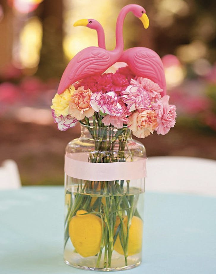flamingo decor flowers