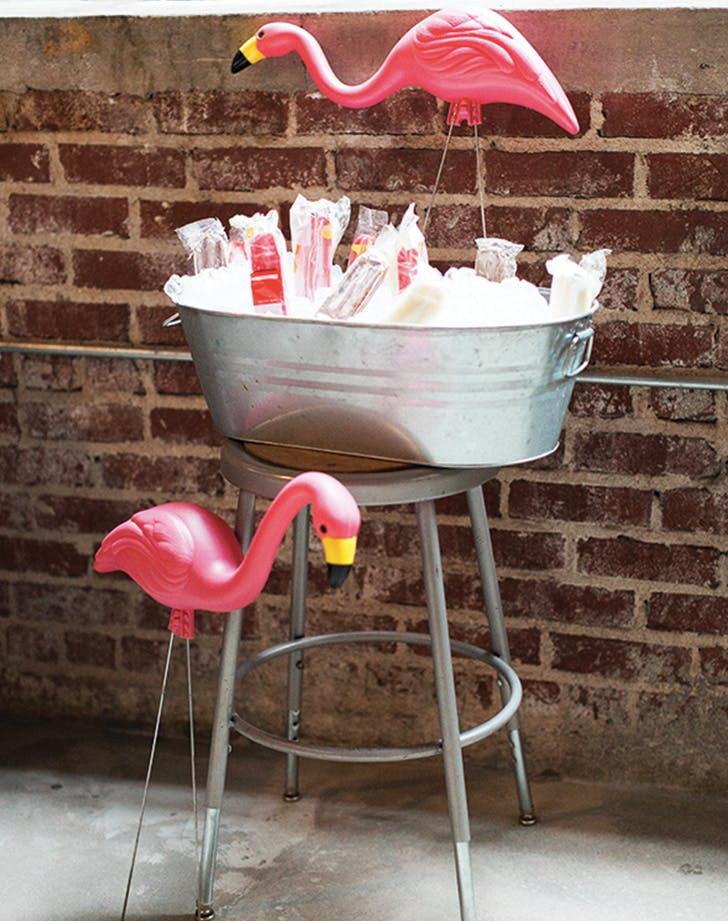 flamingo decor ice bucket