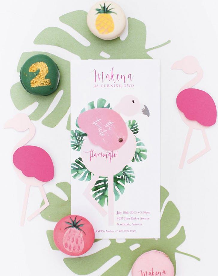 flamingo decor invitations
