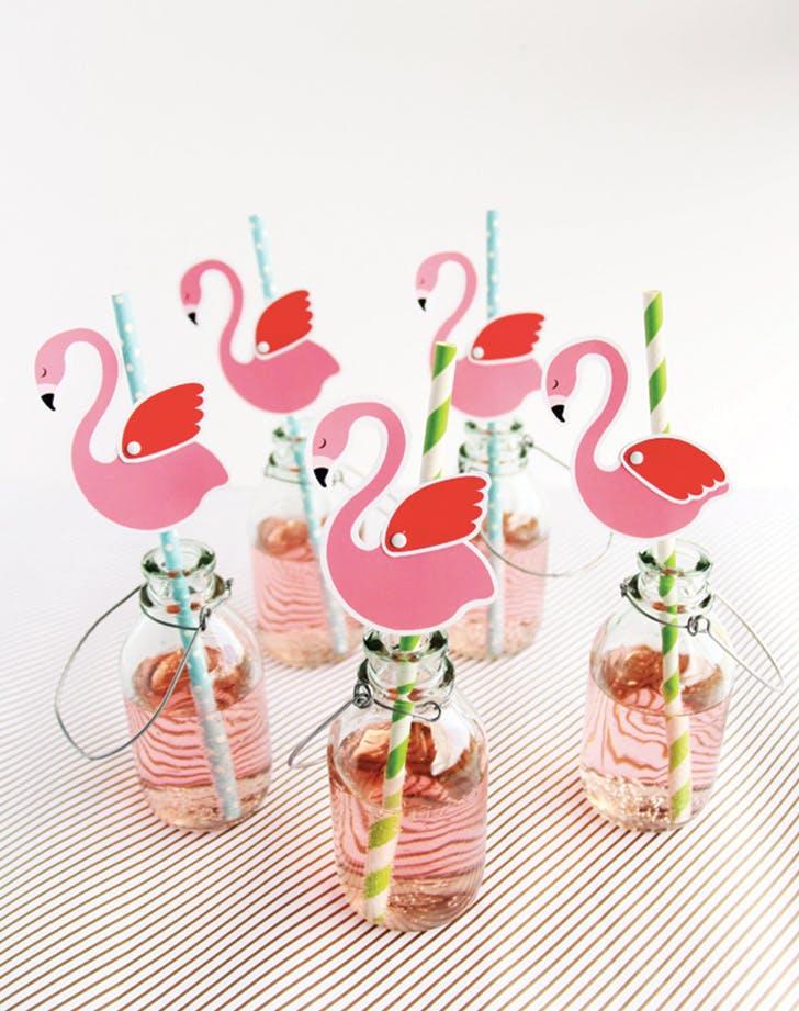 flamingo decor straws