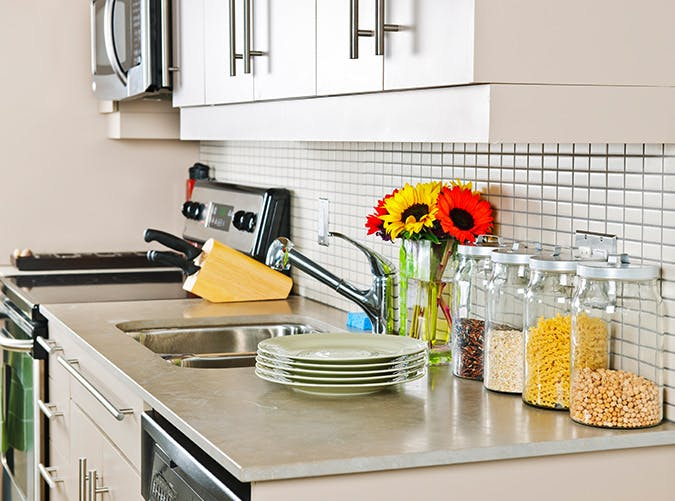 small kitchen counter clutter
