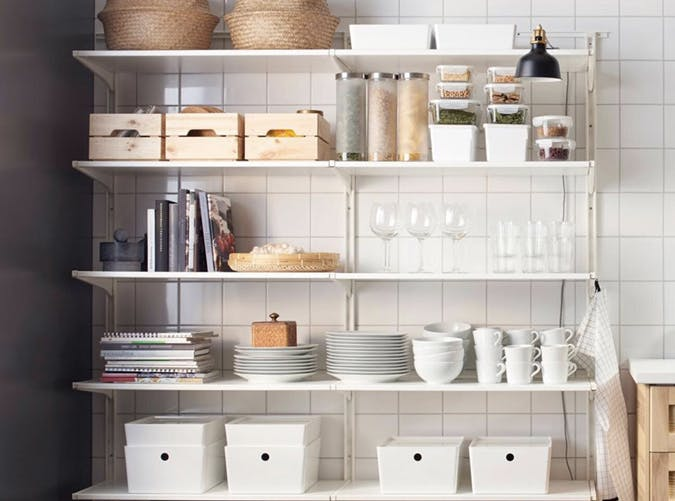 small kitchen open shelving