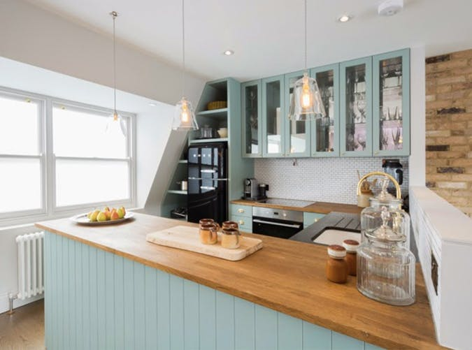small kitchen teal glass doors