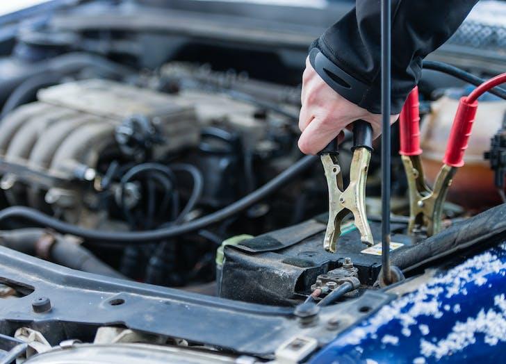 winter car jumper cables
