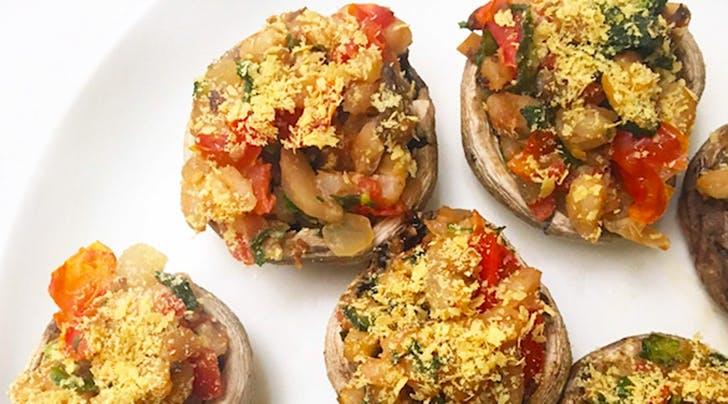 Broccoli Rabe and Farro Stuffed Mushrooms