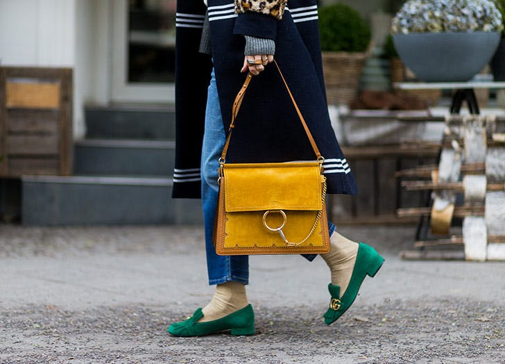 green loafers yellow bag NY