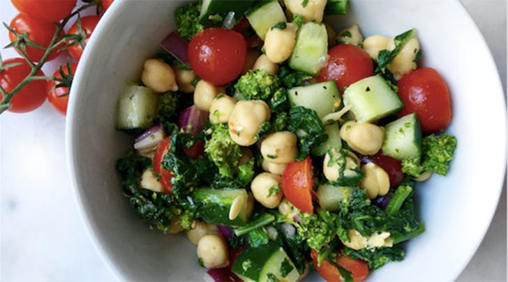Chickpea, Broccoli Rabe, Tomato and Cucumber Salad