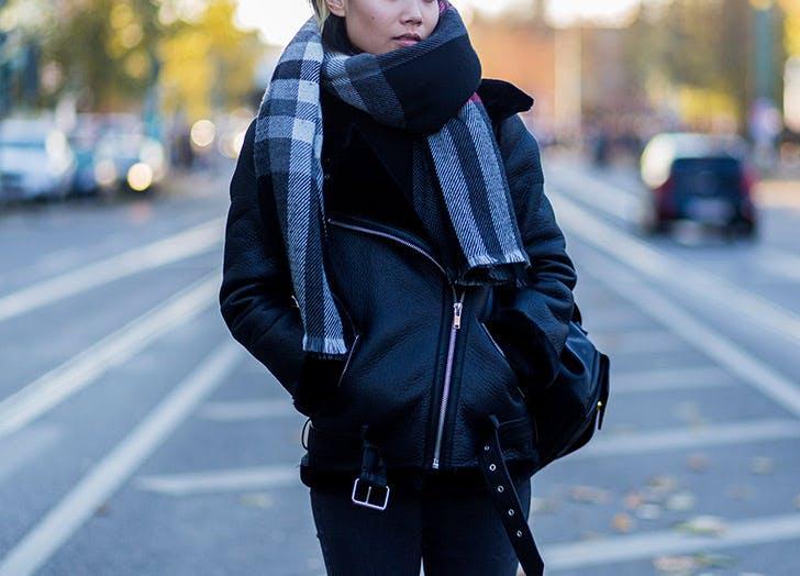 leather fur lined jacket plaid scarf
