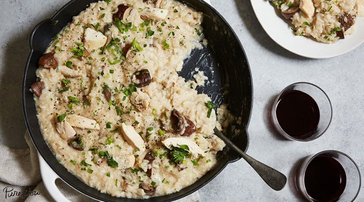 Baked chicken and mushroom risotto purewow for How do i make chicken risotto
