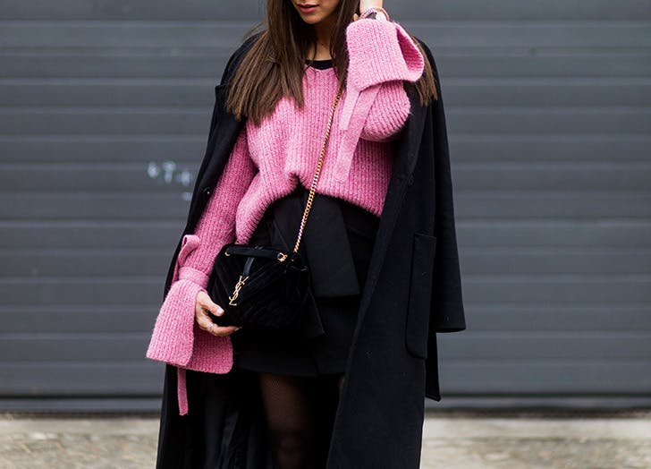pink sweater statement sleeves NY