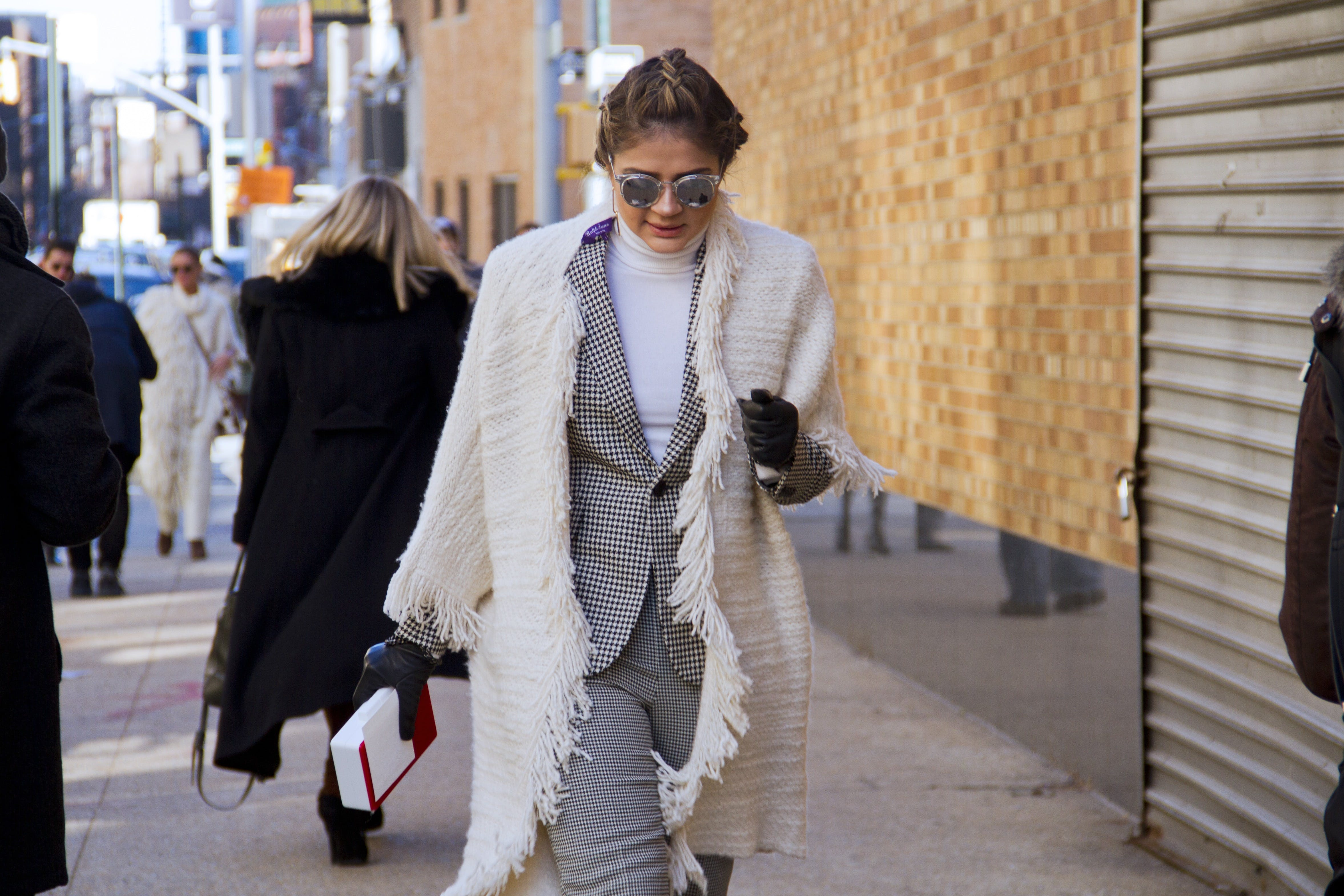 shawl   suit chicago winter style ideas