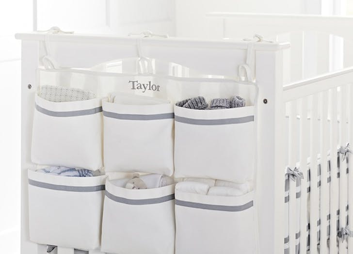 small nursery crib storage