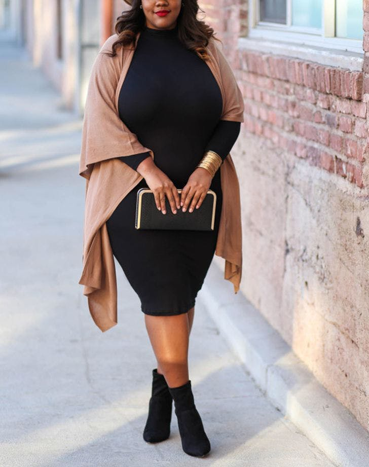 accessorize a black dress brown wrap