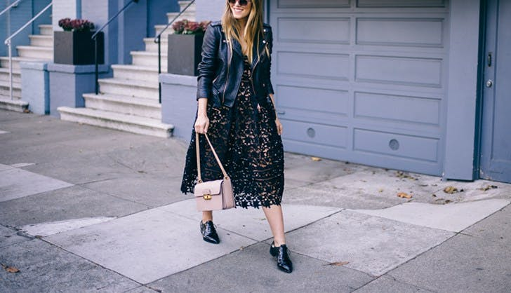 accessorize a black dress moto jacket